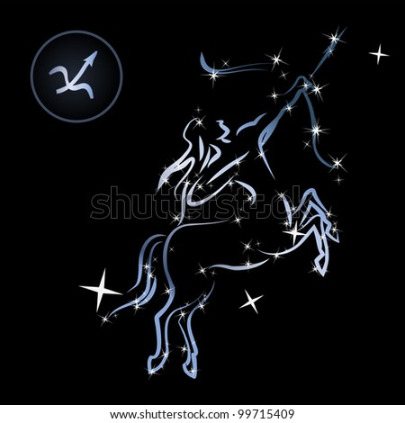 Sagittarius/Lovely zodiac signs formed by stars on black background - stock vector