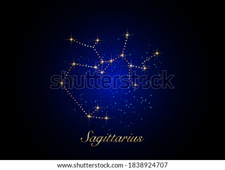 Sagittarius zodiac constellations sign on beautiful starry sky with galaxy and space behind. Gold Archer sign horoscope symbol constellation on deep cosmos background. vector stock photo