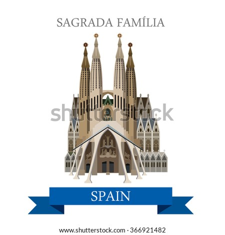 Shutterstock Sagrada Familia Gaudi Basilica Temple Expiatory Church Holy Family in Barcelona Spain. Flat cartoon style historic sight web illustration world countries vacation travel tourist sightseeing collection