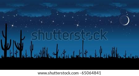 saguaro cactus at night vector