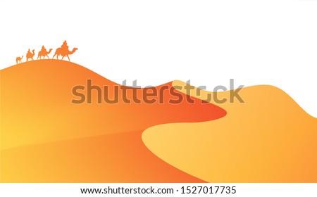 Sahara desert , Animation landscape: caravan of camels and desert waves. Flat banner sand dunes in African desert. Safari Vector illustration orange background