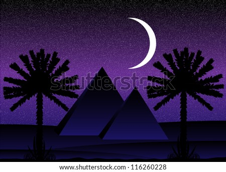 Sahara desert with egyptian pyramids at night - vector illustration.