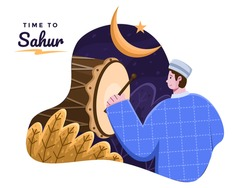 Sahur or Iftar time illustration with person hitting bedug. Time to suhoor. Ramadan Kareem and Eid Mubarak tradition. Subuh or pre dawn time. Muslim person Calling other people to pray to mosque.