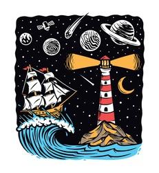 sail at night vector illustration