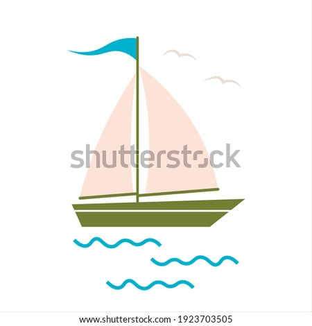 Sail boat. Cute boat with sails on a white isolated background. Sailboat and water waves. Vector illustration in a flat style.