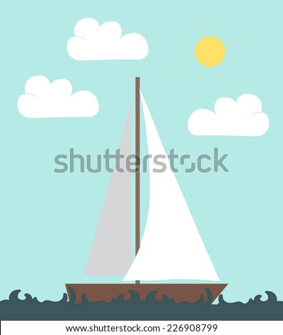 sail boat in the sea vector