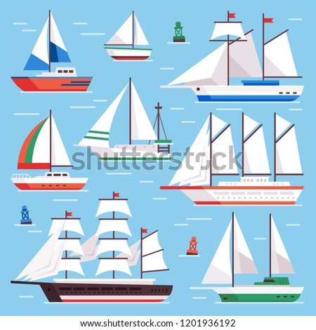 Sail boat. Transportation sailboat for water sailboat race. Flat luxury sailing, sail ship for ocean water boats race. Sailboats transportation vector isolated icons illustration set