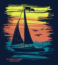 Sail boat vector t-shirt graphic design