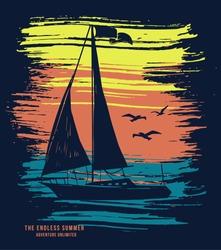 Sail boat vector t-shirt graphic design