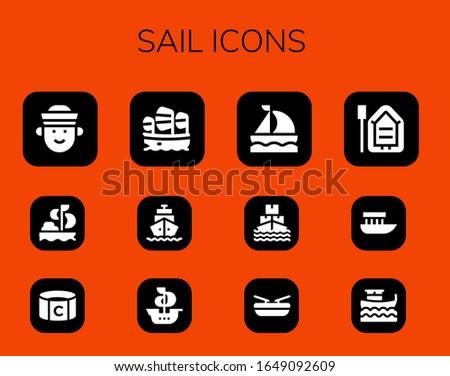sail icon set 12 filled sail