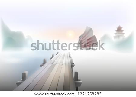 sail in the fog pier in a foggy