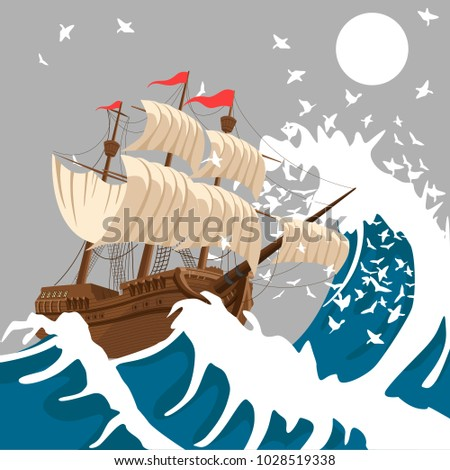sail ship in strong storm in
