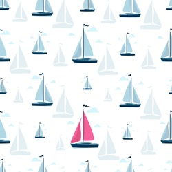 Sailboat background. Yacht club. Sailboat side view. Seamless pattern. Luxury yacht racing, ocean, sailing regatta vector illustration. Sea travel around the world, yacht racing.