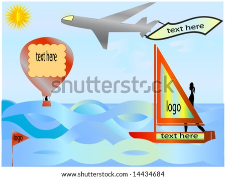 sailboat, balloon and plane like objects for showing text and logo advertisement