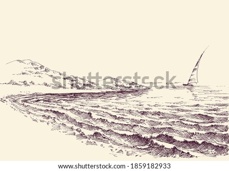 sailboat in the sea  lateral