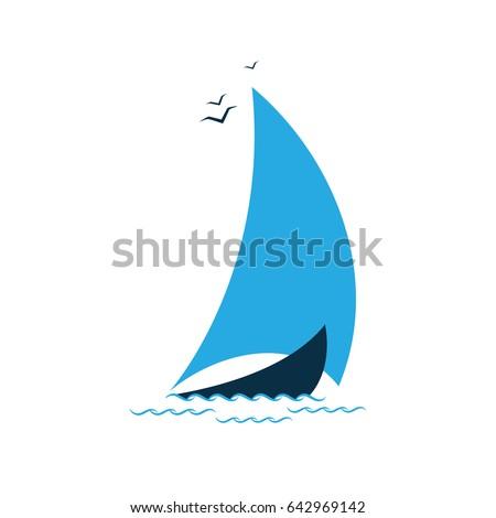Sailboat in the sea. Logo for the tourist company, for sailing, regatta