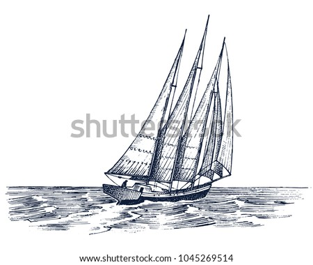 Sailboat in the sea, summer adventure, active vacation. Seagoing vessel, marine ship or nautical caravel. water transport in the ocean for sailor and captain. engraved hand drawn in vintage style.