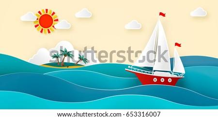 sailboat in the sea sun