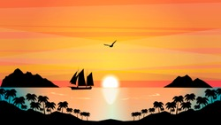 sailboat in the tropical sunset , ocean and palm trees over rocks at coast, seagull flying in glowing sky