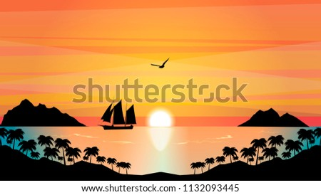 sailboat in the tropical sunset