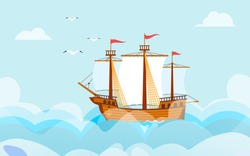 Sailboat in wide sea or ocean nautical cartoon vector Illustration of ocean landscape.Yacht ship and sailing boat for spring or summer holiday vacations, seagulls, rough sea and clouds.