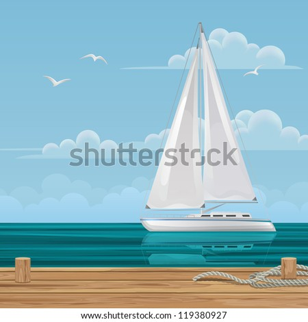 Sailboat off the Pier