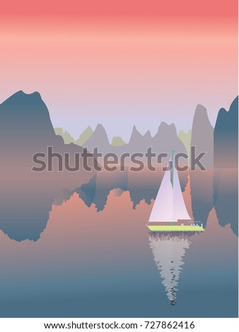 sailboat on a river in the