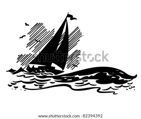 Sailboat On Big Waves - Retro Clipart Illustration