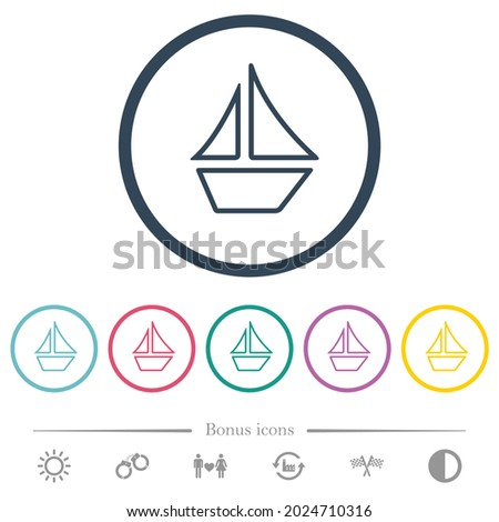 sailboat outline flat color