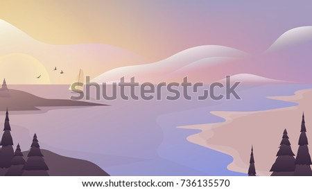 Sailboat sailing in the sea with beautiful sunset scenery landscape, purple and pink tones