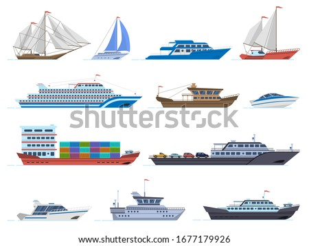 Sailboat ships. Sea transportation boats, cargo ship, yacht, sailing boat, speed boat and ocean cruise liner, sailboats isolated vector icons set. Sailboat and ship, vessel and cruise illustration