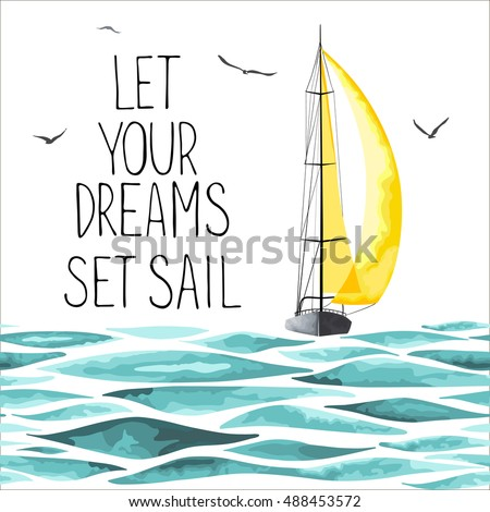 Sailboat with yellow sail in the sea and seagulls around. Objects made in the vector and isolated on white background. Watercolor imitation. Sport yacht, sailboat.