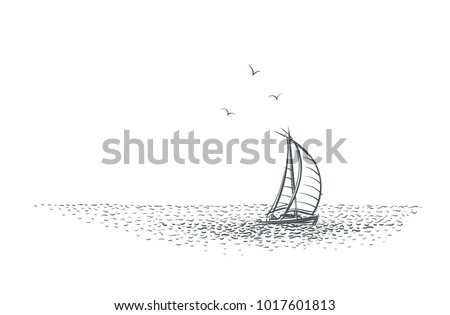 Sailboat/yacht in the sea sketch. Vector.