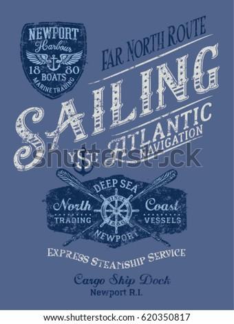Sailing Atlantic navigation, vector print for boy shirt grunge effect in separate layer