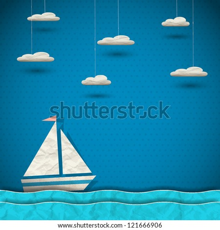Sailing boat and clouds. Vector paper-art