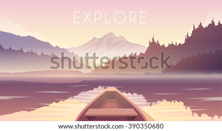 Sailing boat. First person. Mountain landscape. Mountain lake. Outdoor recreation. Vector illustration.  Dawn.