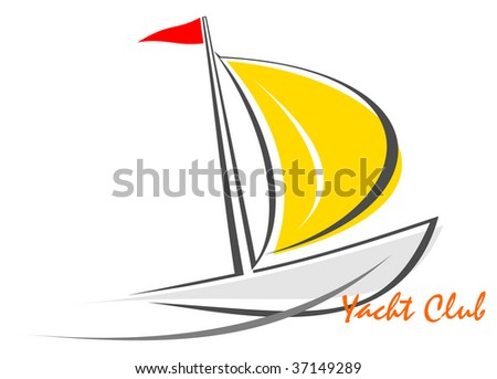 Sailing boat; sailboat on the water; yacht that sails on the waves. Stylized image of the floating boats with sails and red flag. Can be used as logotype of yacht club, marine club, hotel, etc.
