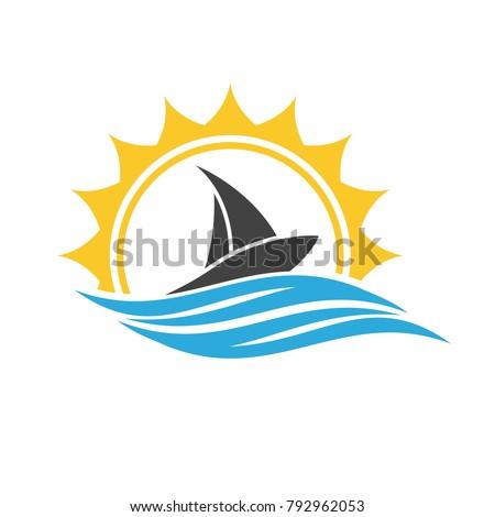 Sailing boat. Sailing ship logo. Ship logo icon.