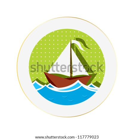 Sailing boat sticker against white background