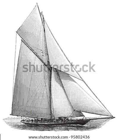 Sailing boat / vintage illustration from Meyers Konversations-Lexikon 1897