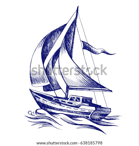 Sailing boat with a flag. Vector sketch stylized wave. Sea yacht floating on the water surface. Drawn with a ballpoint pen.
