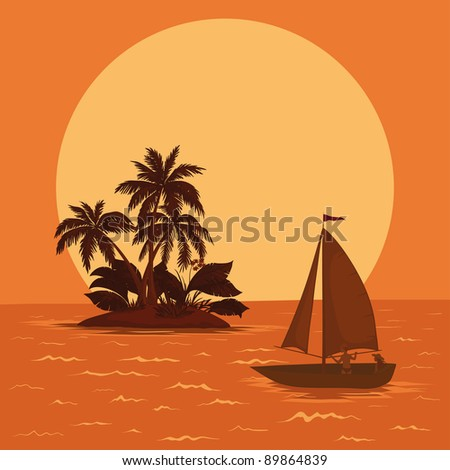 Sailing boat with a people floating in the tropical sea against the backdrop of the island with palm and sun. Vector