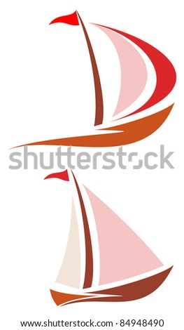 Sailing boat.  Yacht that sails on the waves. Stylized image of the floating boats with red and pink sails and red flag. Can be used as logotype of yacht club, marine club, hotel, etc.
