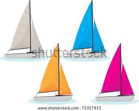 sailing boats in four different