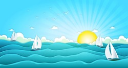 Sailing Boats In Wide Summer Ocean/ Illustration of a cartoon ocean landscape with yachts and sailing boats for spring or summer holiday vacations, including seagulls, rough sea and bright sunshine