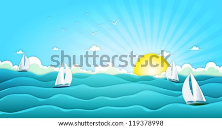 sailing boats in wide summer