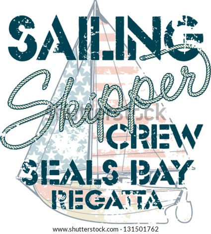 Sailing crew - marine artwork for boy t shirt in custom colors