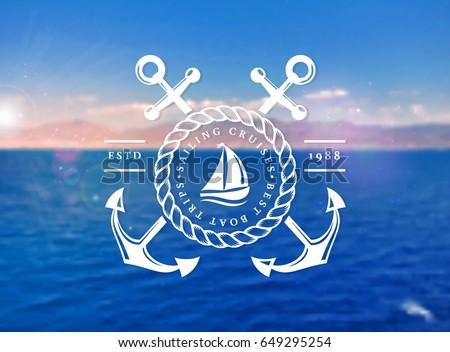 sailing cruises logo on blurred ...