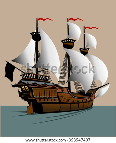 sailing pirate ship with sails