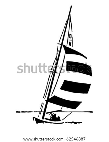 Sailing - Retro Clipart Illustration
